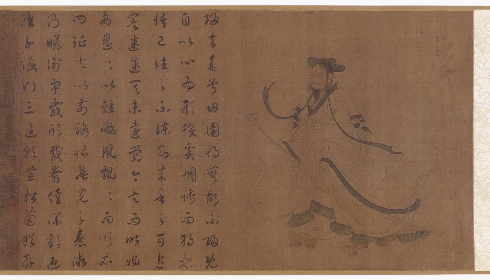 Tao Qian's ink and color on silk, Homecoming prose poem
