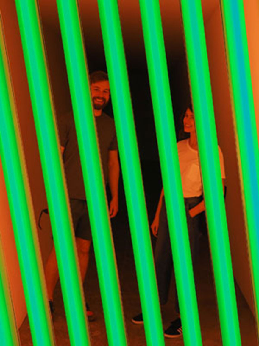 Museum Council Patron members at light-based art installation during trip to Marfa, Texas