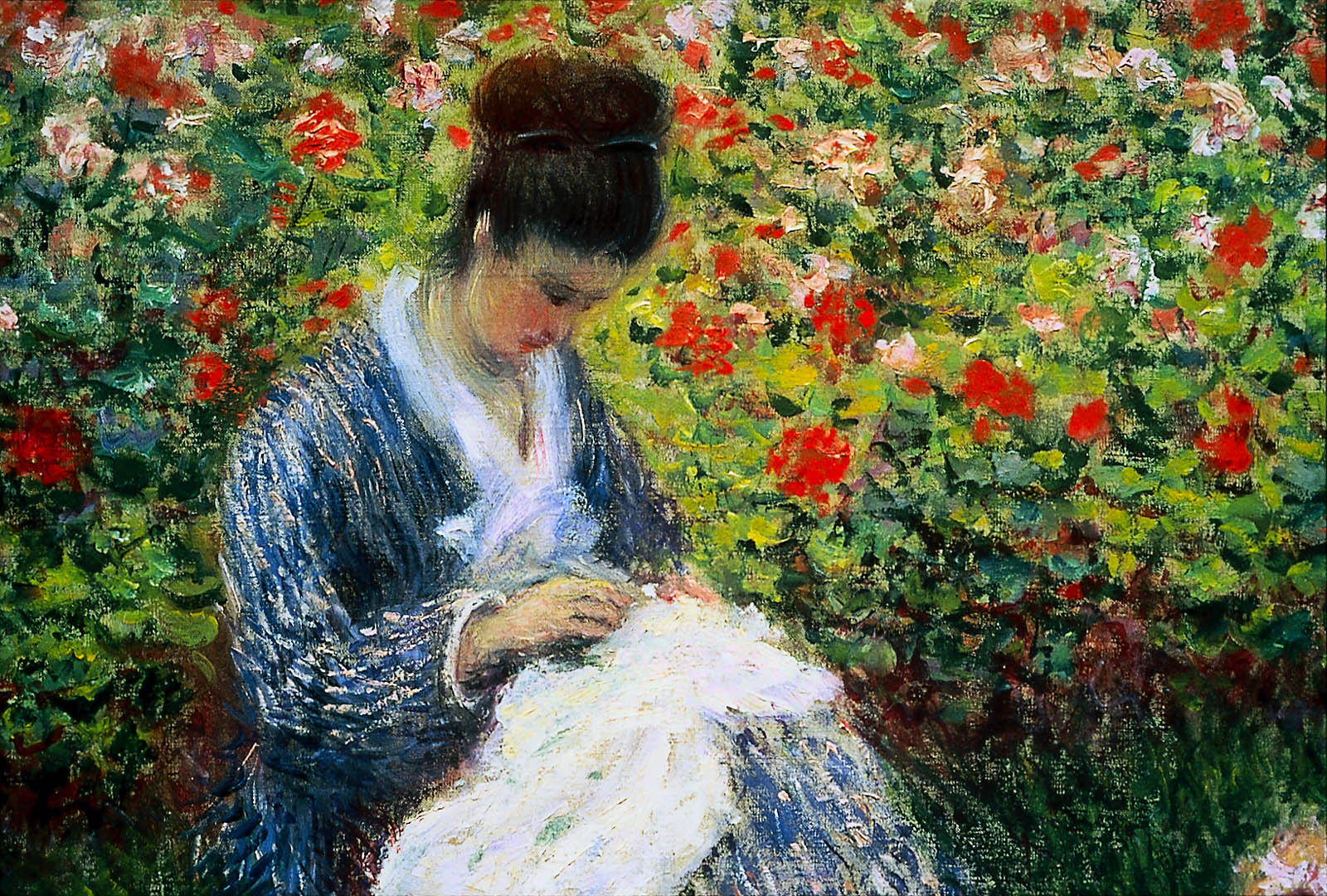 camille monet and a child in the artist u0026 39 s garden in