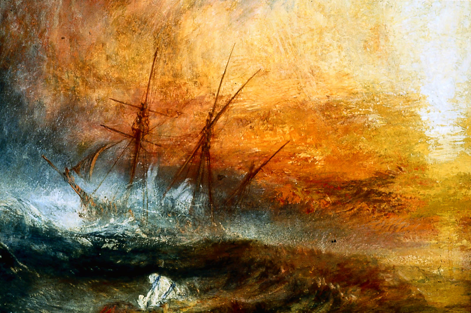 the slave ship j m w turner In joseph mallord william turner's painting, the slave ship (originally titled slavers throwing overboard the dead and dying - typhon coming on) nature is once again used as a background to human activity.