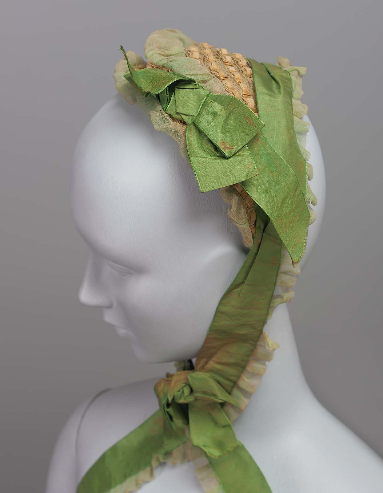 "Straw ""half bonnet"" c. 1870 from the Museum of Fine Arts Boston"