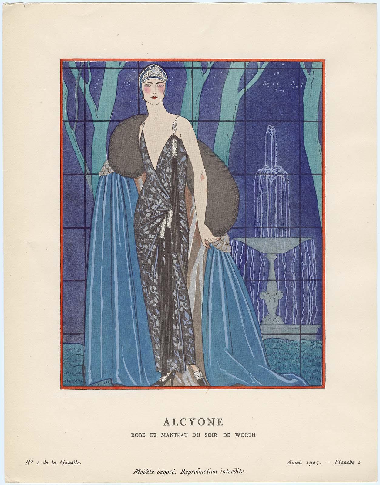 alcyone robe et manteau du soir de worth plate 2 from gazette du bon ton no 1 museum. Black Bedroom Furniture Sets. Home Design Ideas