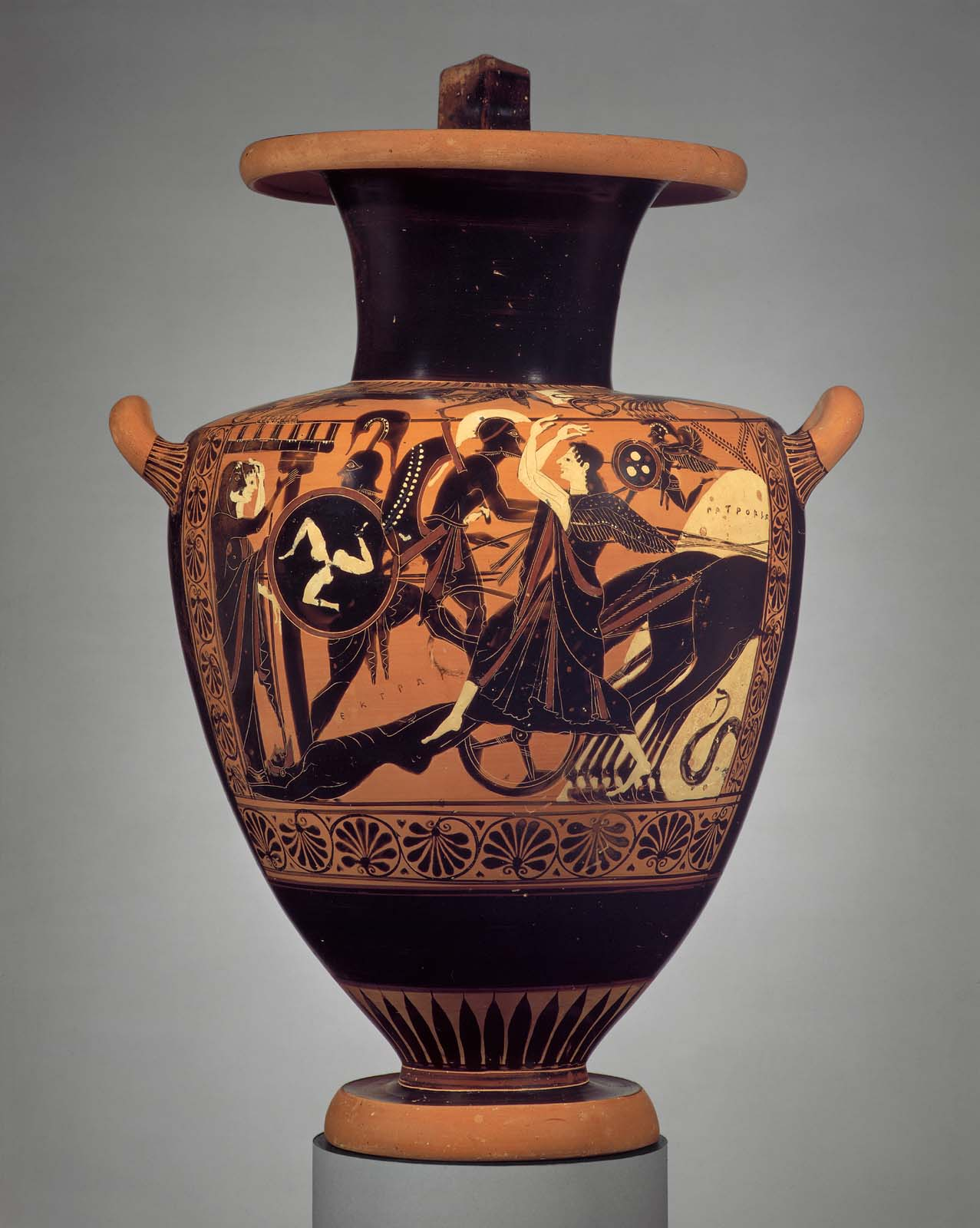 Water jar (hydria) with the chariot of Achilles dragging ...