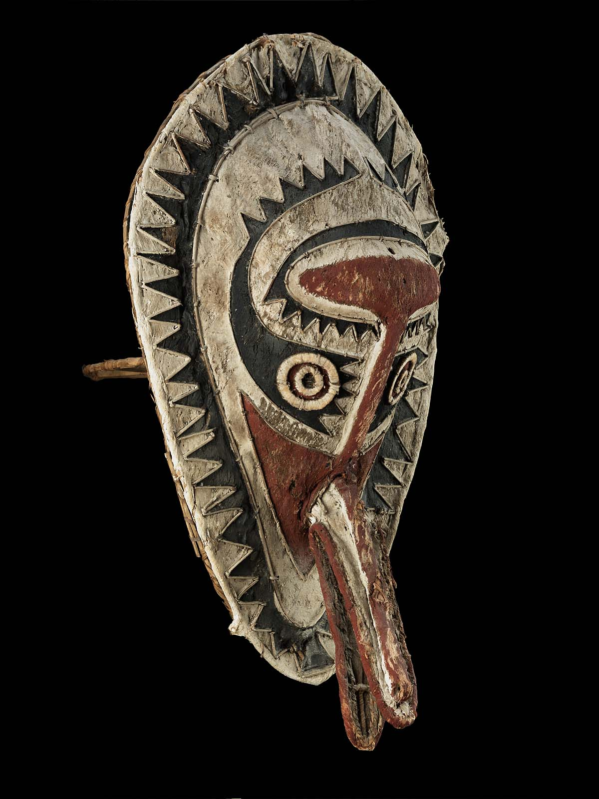 Object Type: Mask Indigenous Name: eharo Culture/Location: Papua New Guinea Date: Late 19th -Early 20th Materials: barkcloth, fiiber, cane, paint Dimensions: 61 cm Institutions and accession number: Museum of Fine Arts Boston, 2014.308