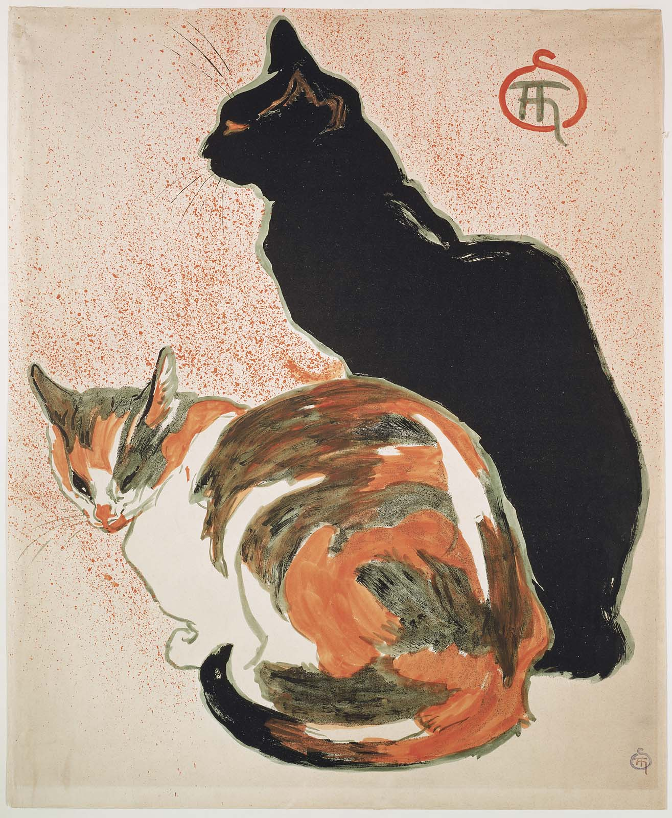 Steinlen Cats Drawings Two Cats