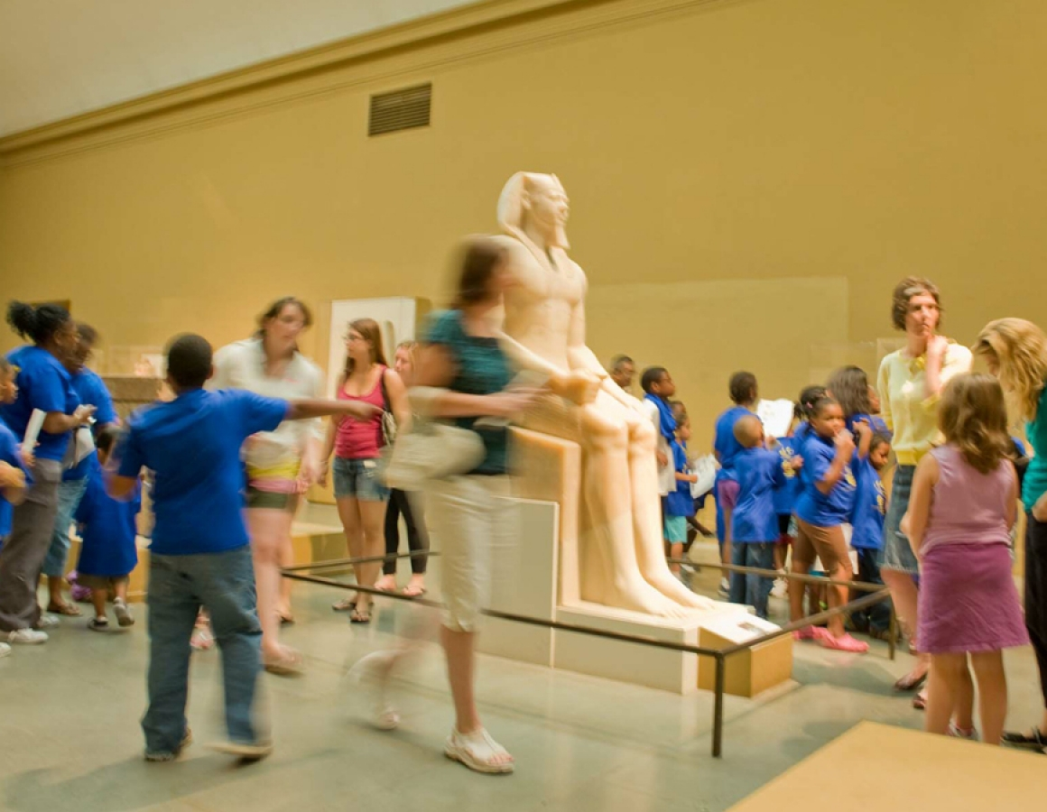 Kids group, Egyptian gallery, blue t-shirts, Free Fun Friday