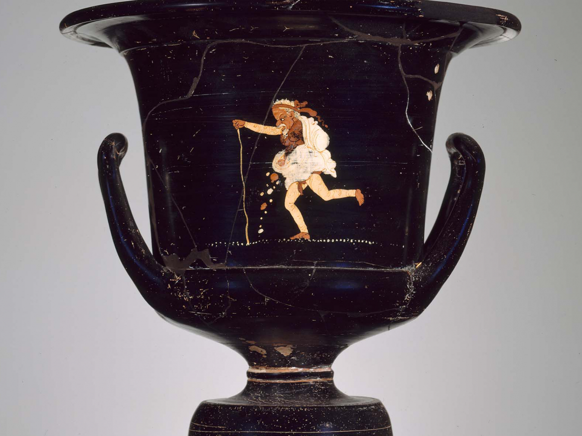 Greek mixing bowl with a figure of an old man