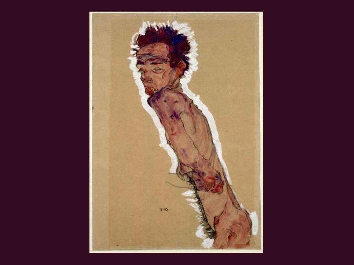Egon Schiele's drawing, Nude Self-Portrait.