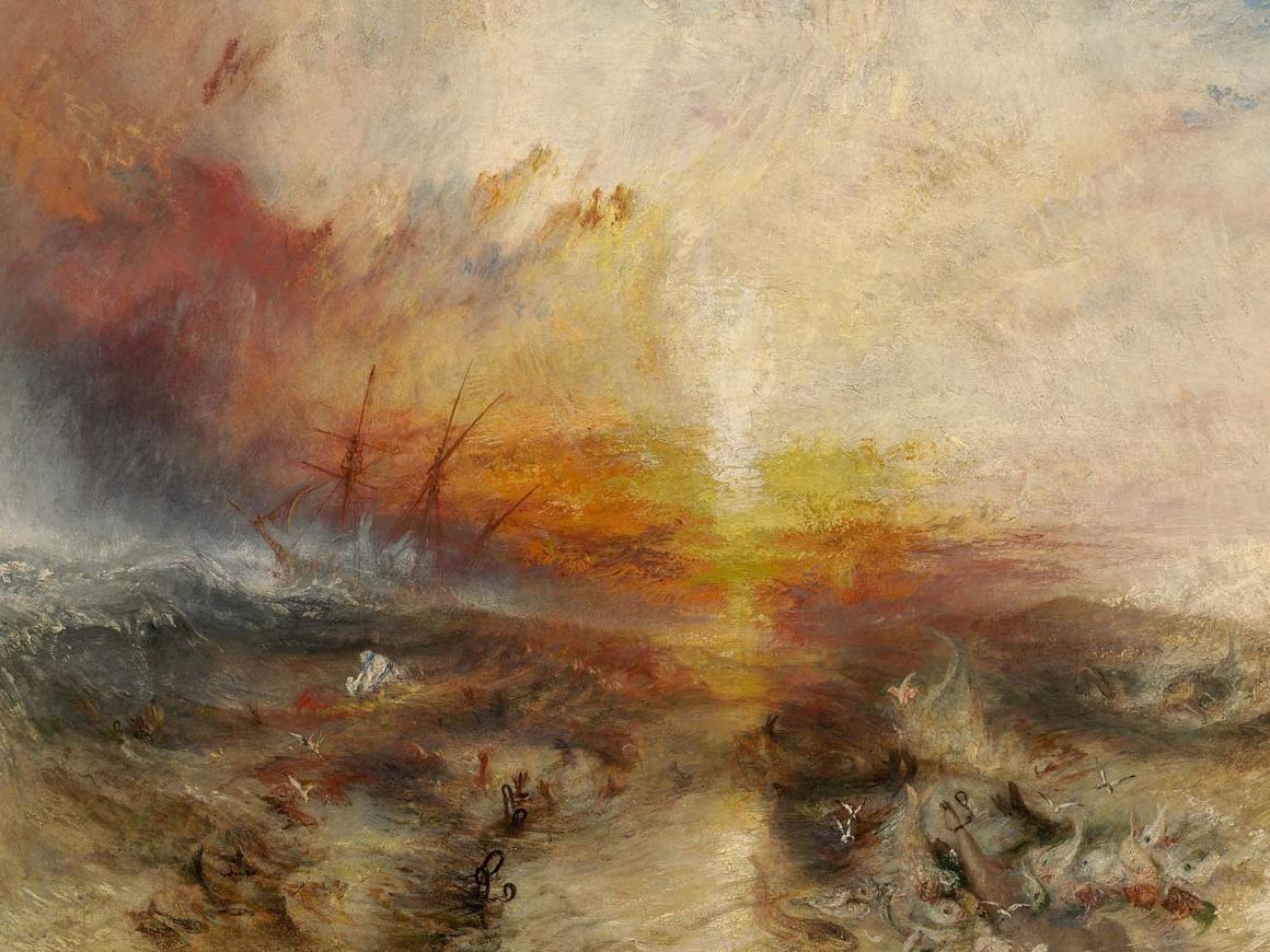 """当特纳在1840年在皇家艺术学院展出这张照片时,他将其与未完成和未发表的诗""""堕落的希望""""(1812年)"""