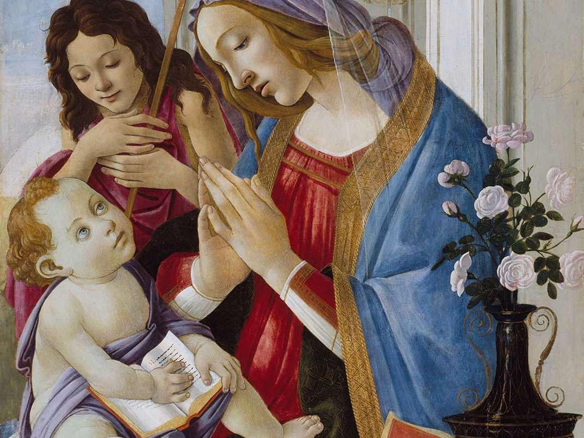 桑德罗波提切利,圣女和儿童与施洗者圣约翰