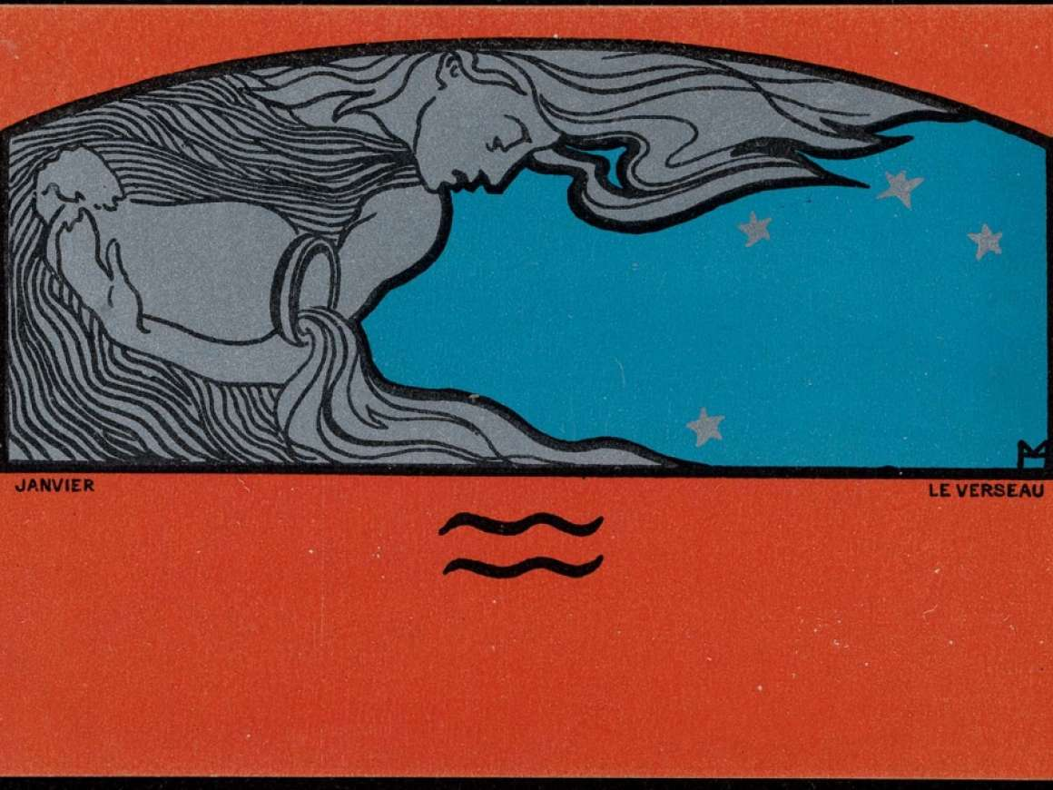 Henri Meunier (Belgian, 1873–1922), April, The Bull, from the Signs of the Zodiac, 1898. Color lithograph with metallic pigment on card stock. Leonard A. Lauder Postcard Archive. Gift of Leonard A. Lauder.