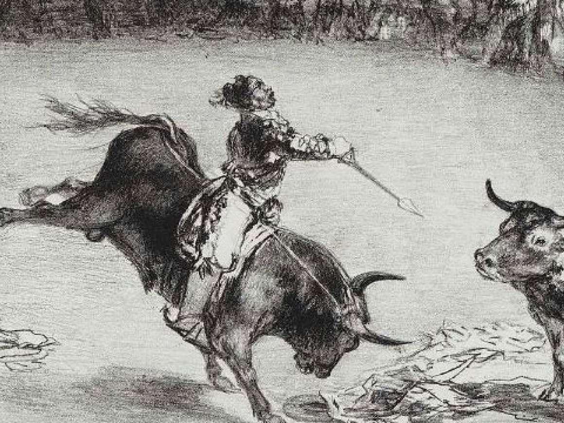 Detail of Goya's print, El Famoso Americano, Mariano Ceballos