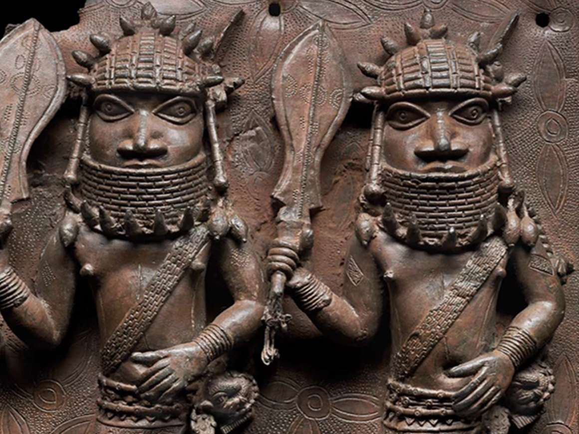 Relief plaque showing two officials with raised swords, 16th–17th century