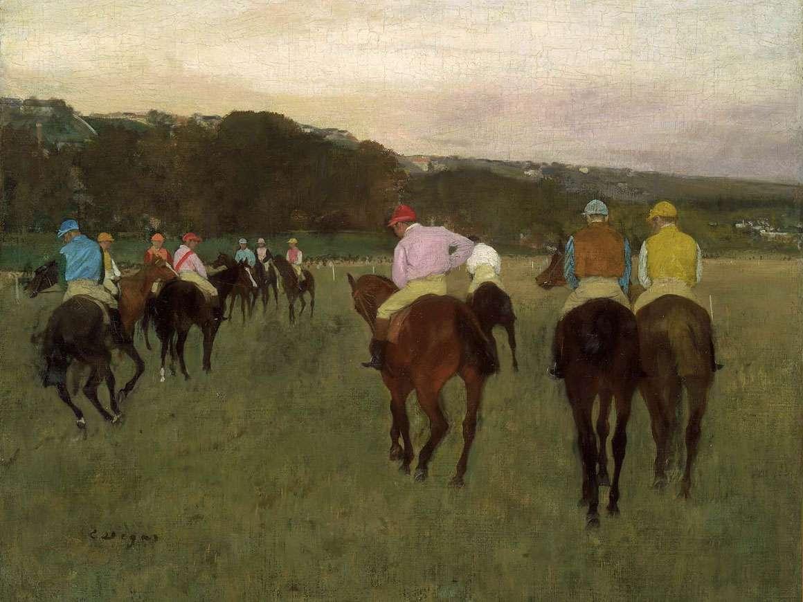赛马在Longchamp的细节,由Edgar Degas绘画
