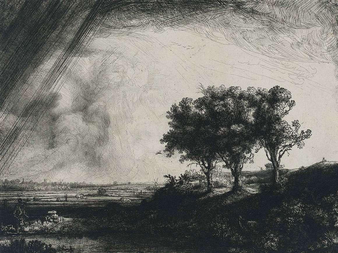 Rembrandt Harmensz. van Rijn's print, The Three Trees