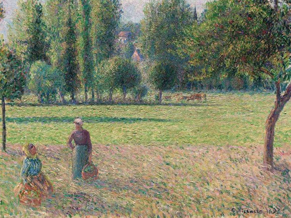 一个草地上的两名农民妇女的细节(LePré),由Camille Pissarro绘画