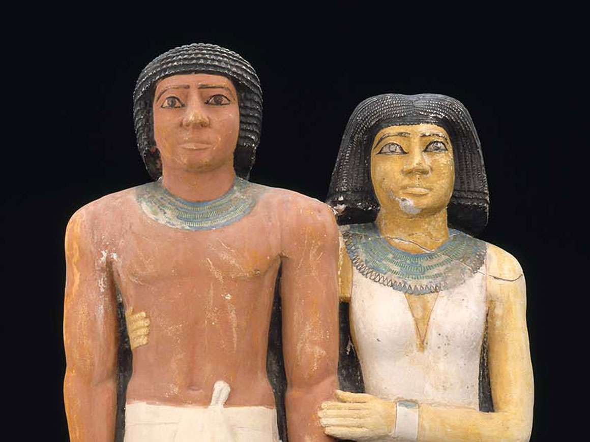 Egyptian pair statue of Ptahkhenuwy and his wife