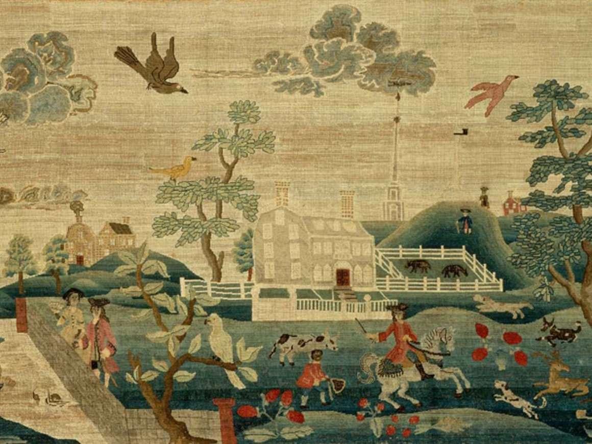 Detail of Hannah Otis's canvas-work, View of Boston Common