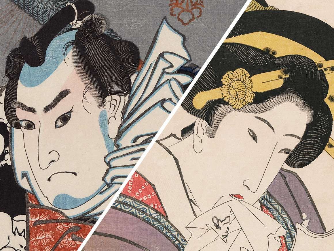 Utagawa Kuniyoshi's print, Nozarashi Gosuke, to the left of Utagawa Kunisada I's print, The In-demand Type (Yoku uresô)