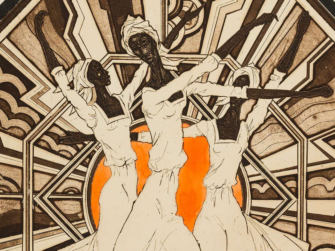 Detail view of Cortor's print, Dance Composi on No. 35