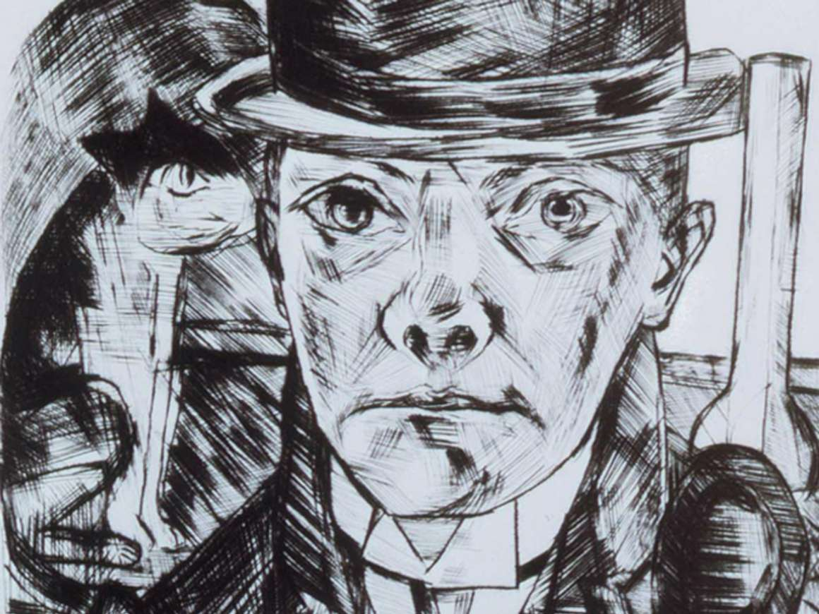 Detail of Max Beckmann's drypoint print, Self-Portrait in Bowler Hat