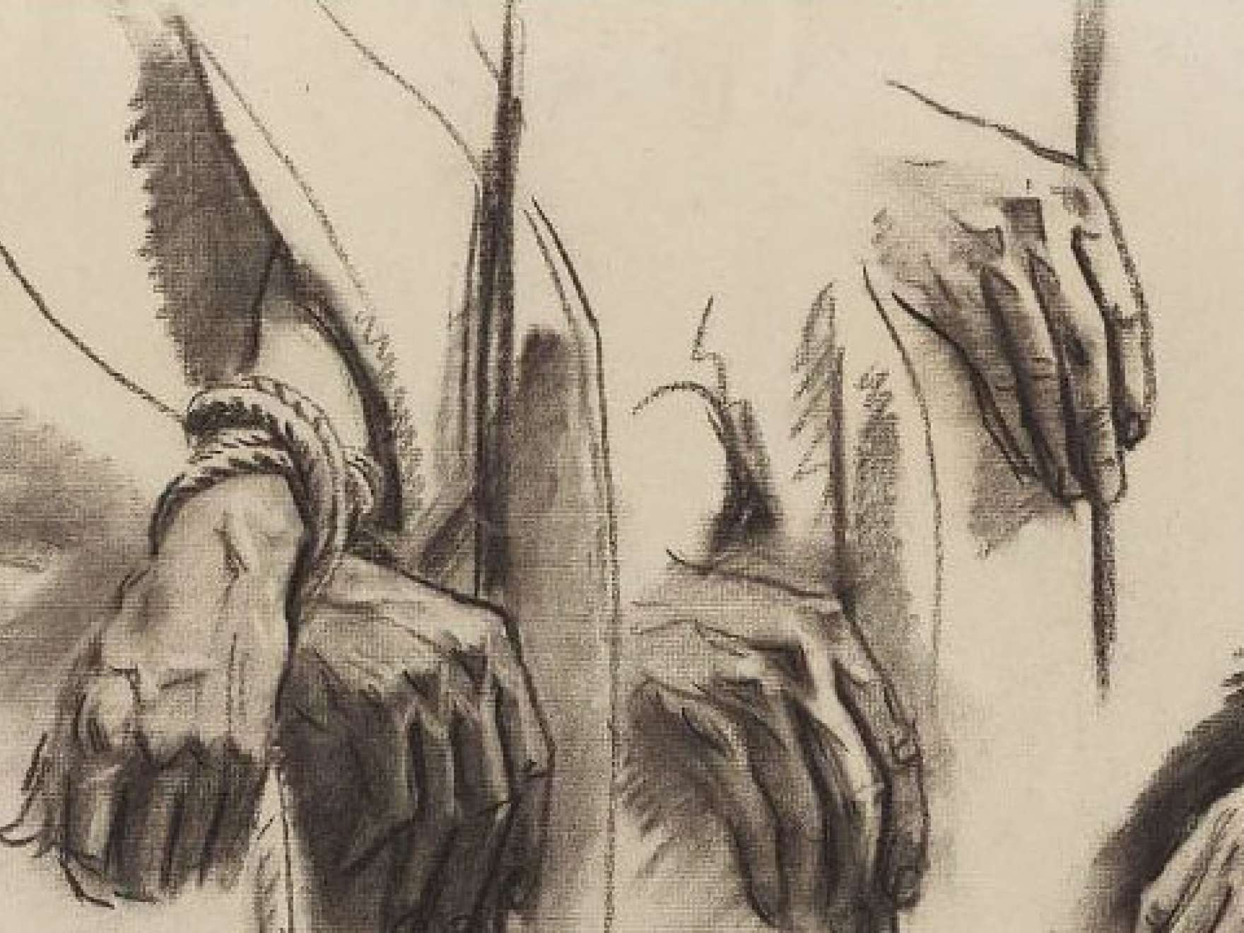 Detail of John Singer Sargent's sketch for the Sorrowful Mysteries, the Crowning with Thorns - Hands - Boston Public Library Murals