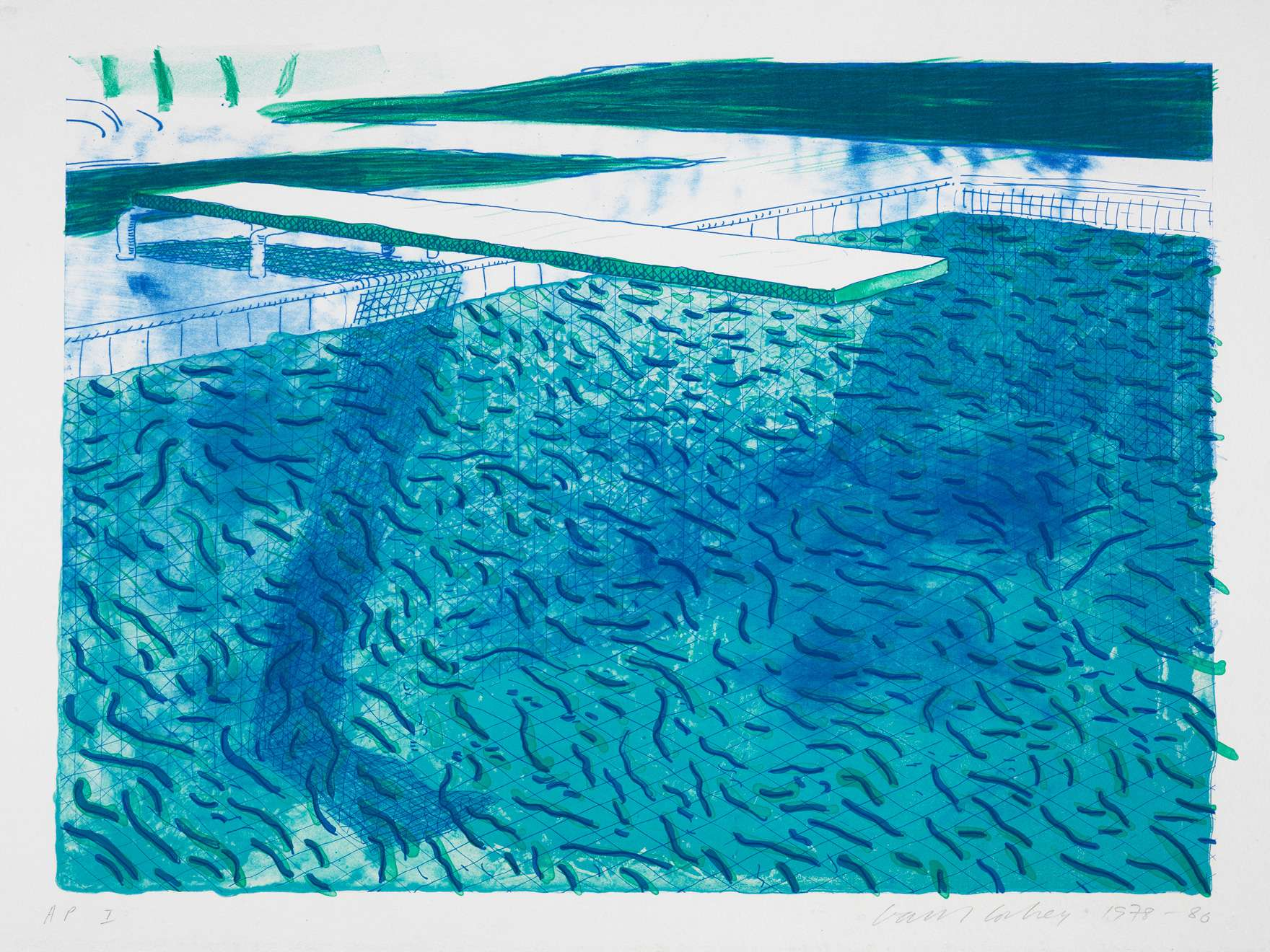 David Hockney, Pool I (Lithograph of Water Made of Thick and Thin Lines, A Green Wash, a Light Blue Wash and a Dark Blue Wash), 1978–80
