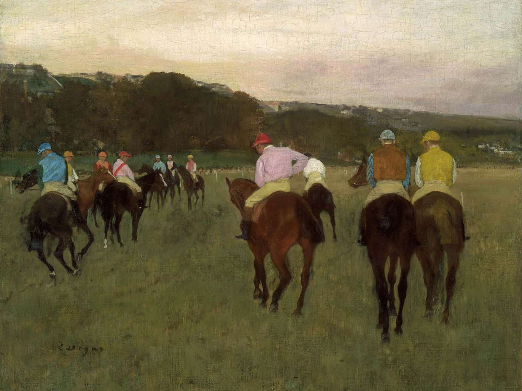Detail of Racehorses at Longchamp, painting by Edgar Degas