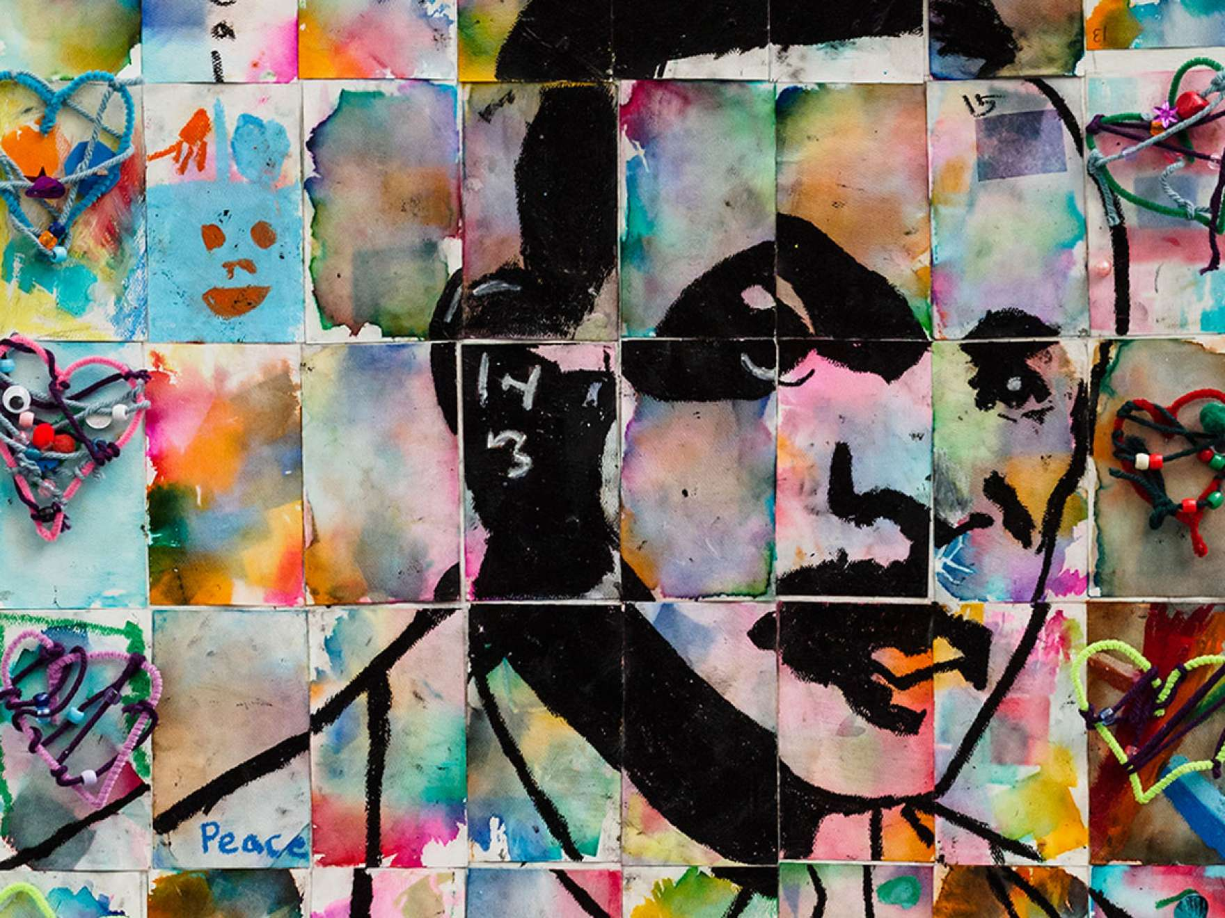 Collaborative work of art by students from the Boston Chinatown Neighborhood Center for the MFA's MLK Open House, January 19, 2015