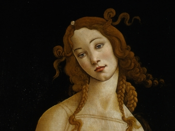 Detail of Sandro Botticelli and workshop's painting, Venus
