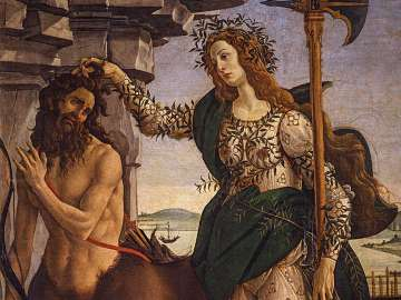 Sandro Botticelli's painting, Minerva and the Centaur, about 1482