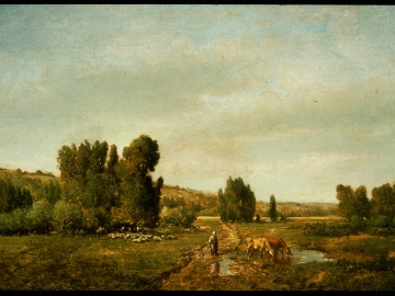 Landscape with a Peasant Watering her Cows