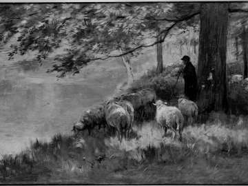 Shepherd and Sheep under the Trees