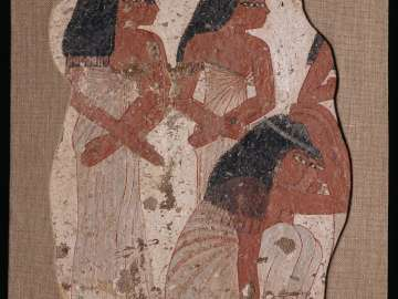 Tomb painting with scene of mourning women