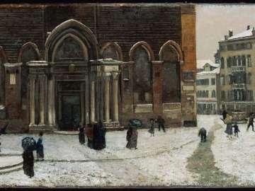 Snowing in Campo S.S. Giovanni e Paolo, Venice