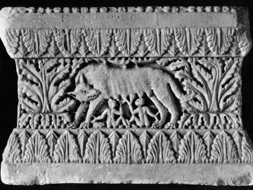 Carved Base with Romulus and Remus