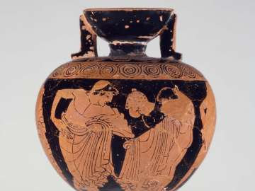 Oil flask (aryballos) depicting athletes