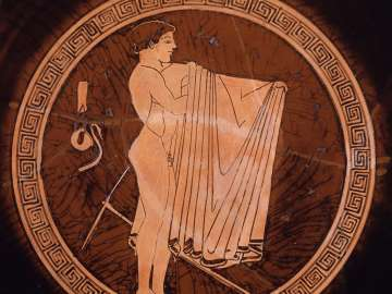 Drinking cup (kylix) depicting athletes
