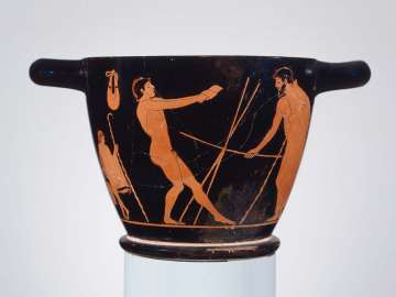 Drinking cup (skyphos) depicting jumpers