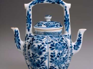 Double-spouted melon-shaped ewer with blue-and-white decoration of flower scrolls