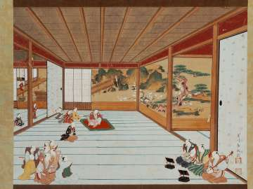 Perspective Picture:  Gidayu Performance in a Reception Room