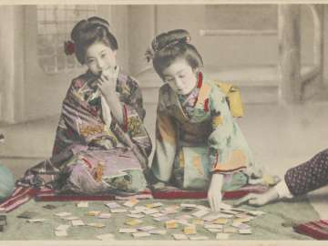 Little Girls Playing Cards