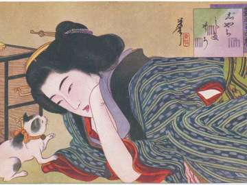 Playing with a Cat (Jarashi nosô) from The Series One Hundred View of Erotic Women (Enshi hyakumensô)