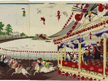 Illustration of the Opening Ceremony of the Union Horse Racing Club's Racetrack around Shinobazu Pond in Ueno Park (Ueno Shinobazu kyôdô keiba kaisha kaigyôshiki no zu)