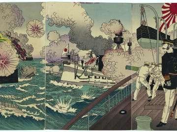 Admiral Kabayama Fights Furiously in the Great Sino-Japanese Naval Battle off Takushan in China (Shinkoku Daikôsan oki Nisshin daikaisen Kabayama shôgun funsen no zu)
