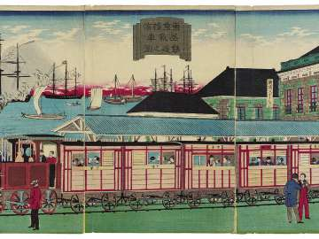 Illustration of the Steam Train Railroad between Tokyo and Yokohama (Tôkyô Yokohama jôkisha tetsudô no zu)
