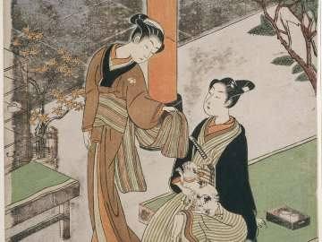 Osen of the Kagiya and a Young Man with a Cat