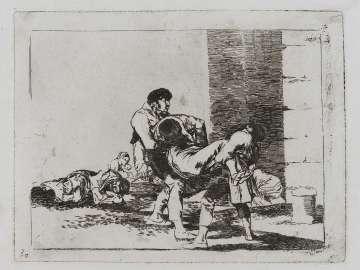 Al cementerio. (To the cemetery); Fatales consequencias de la sangrienta guerra en España con Buonaparte. Y otros caprichos enfaticos [Disasters of War], plate 56.