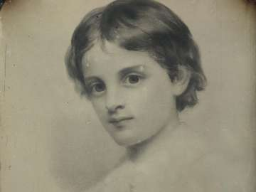 Crayon Portrait of Roger Wolcott as a Young Boy (1854), by Seth Cheney