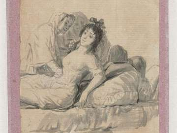 Young Woman Reclining on a Bed, Attended by Two Old Women Album A, I (verso of k)